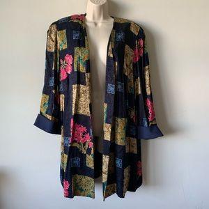 Vintage 80s 90s oversized silky open kimono duster